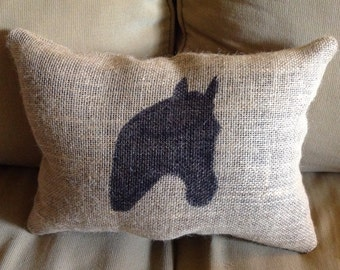horse head burlap pillow farm pillow horse pillow burlap pillow rustic pillow - Horses Head Pillow