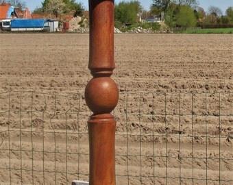 "Vintage Hand Carved Wood Pedestal Display Table Plant Stand 23.22"""