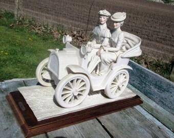 Capodimonte Large Figurine Statuette A. Belcari Couple Sunday Drive Lovely