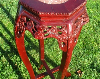 Vintage Carved Oriental Marble Top Chinese Plant Stand Round Asian Side Table