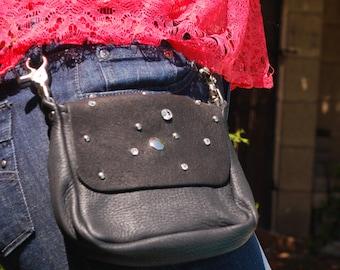 Rustic Deerskin Belt Loop Gusset Hip Bag, Black with Clear Gem Studs