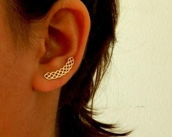 Gold Bridal Earrings, Bridal Jewelry, Gold Ear Climber, Wedding Earrings,  Delicate ear cuff .  Gold ear pin earrings. Bridal Earrings Gold