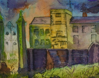 The Haunted House, Eerie Colourful, Atmospheric, In White Frame, Original Watercolour and Pen, 13 x 9.5 Inches, Framed Ready to Display,