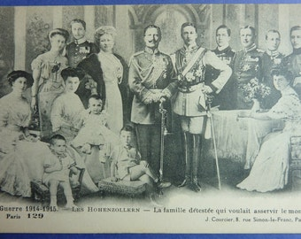 French WWI 1915 Propaganda Postcard Of The Kaiser And His Detested Family