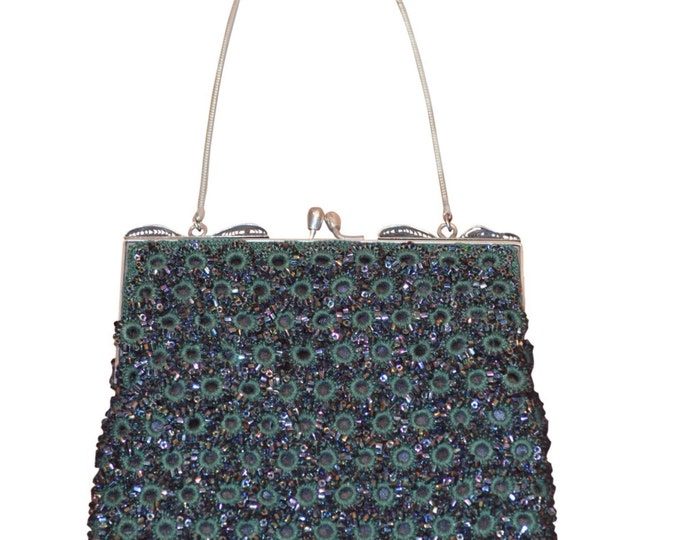 Vintage Estate Emerald Green Crochet Iridescent Aurora Borealis Hand Beaded Purse Handbag Shoulder Bag Cross Body New