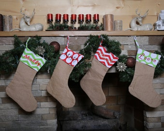 Personalized Christmas Stockings. Burlap Stockings. Santa Stocking Stuffers. Professional Vinyl Pressing. ON SALE!
