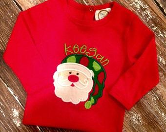 Personalized Santa appliqué bodysuit/shirt/gown