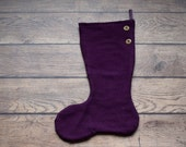 Aubergine/Purple/Plum/Dark Grape knit Christmas Stocking made from Up-cycled St. John's Bay Sweater