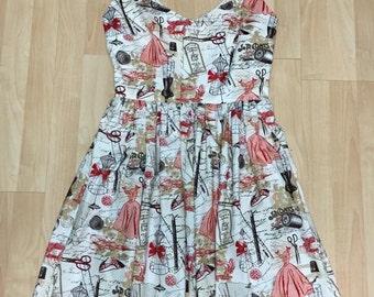 Vintage Sewing Notions Dress