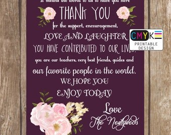 Wedding Thank you Sign, Plum Wedding Decor, Thank You Saying for Family and Friends, Printable 5x7 Thank You, Wedding Display