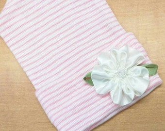 Newborn Hospital Hat w/White Satin Flower Applique with Beads. Baby Beanie. Pink and White Stripe Newborn Hat. Great Gift & Coming Home In!