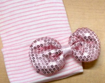 New! Newborn Hospital Hat with a Pink Bow. Baby Girl Choice of Hat Color. 1st Keepsake! Perfect Gift and Gender Reveal!