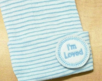 A Best Seller! Newborn Hospital Hat. Baby Boy I'M Loved. Newborn Beanie. Every New Baby Boy Should Have! Adorable!