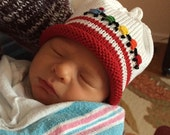 Choo Choo Train Knitted Newborn Baby Hat with Embroidery ~Best Baby Boy Gift, Hand-Knit, Cotton