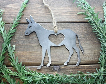 Donkey Love Rustic Metal Recycled Steel Heart Christmas Tree Ornament Holiday Gift Industrial Decor Wedding Favor By BE Creations
