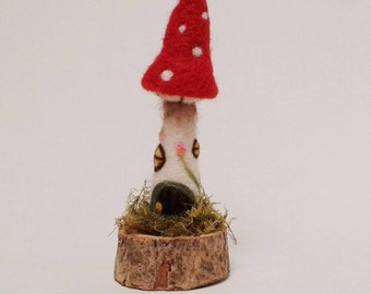 Needle Felted Fairy House. Felt Fairy House. Toadstool Fairy House.