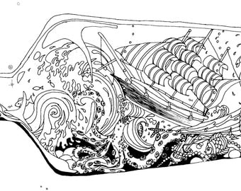 Ocean storm in a bottle coloring page. Downloadable