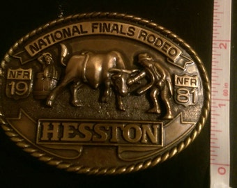 Rodeo Buckle/ Hesston 1981 collectors buckle/ Seventh edition