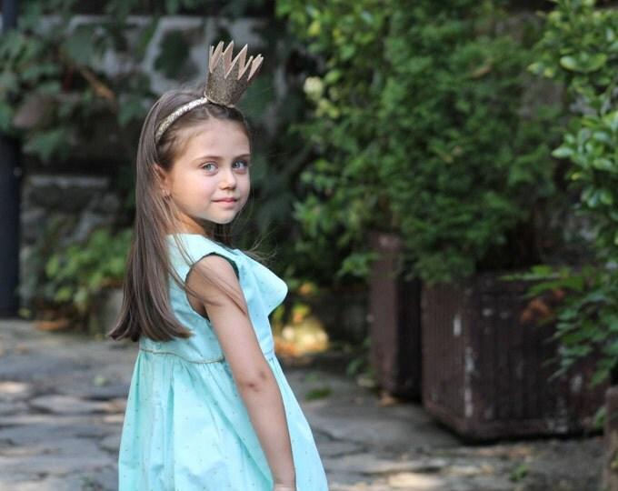 Sleeve-less dress, 100% cotton toddler dress, Aqua colour girls dress, Golden dots dress, Toddler dress polka dots, Toddler girls dress