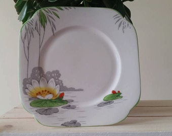 ROSLYN CHINA Lily Side Plate - 1950s Vintage Plates - Water Lilies - Fine Bone China - Crockery