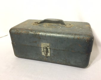 Vintage Steel Fish Tackle Box Embossed With Fish Head