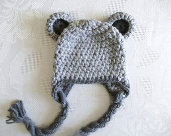 Newborn bear hat Earflap bear hat Baby boy hat Gray baby boy hat Crochet baby hat Newborn boy outfit Winter baby hat Earflap baby hat