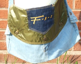 DENIM hand made bag with up cycled parachute front flap
