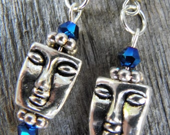 Silver Faced Earrings w/ Blue Beads