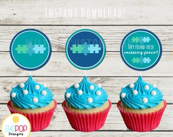 Missing Piece Blue Cupcake Toppers - Adoption - Baby Shower - Instant Download