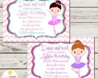 BALLERINA BIRTHDAY INVITATION Dance and Twirl - 5x7 - Pink-  Purple - Chevron - Glitter