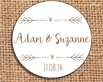 Wedding favour labels Save the Date stickers favors 120 rustic