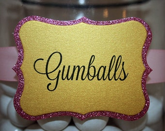 Candy buffet tags, Candy Buffet Signs, candy labels, Dessert Table, Custom Printed, Glitter, pink and gold Pack of 8