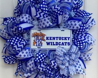 University of Kentucky Wildcats Deco Mesh Wreath, Sports Wreath, UK Decor, Basketball Wreath, Collegiate Decor, Kentucky Decor