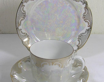 Vintage  Fine bone china M E Bavaria Pearl Lustre  Trio  Teacup, Saucer and sideplate