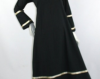 Vintage 1960s 70 Josefa cotton maxi dress // embroidered // Festival // Hippie / satin trim / romantic
