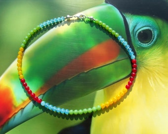 TOUCAN glass beads summer stained glass beads necklace chain