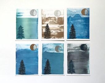 SALE! Moon & Trees Postcard 6-Pack