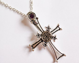 Gothic Cross Pendant withAmethyst Crystal