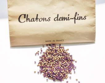 Pack of 1000 x Amethyst SS5 SS7 Vintage rhinestones 'Chatons demi-fins' / Gold foiled pointed back chatons / Jewellery making