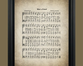 What a Friend  we have in Jesus Hymn - Sheet Music Art - Home Decor - Inspirational Art - Gift - Instant Download - #HYMN-011