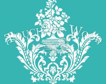 Shabby Chic STENCIL: Damask Wallpaper Pattern 01 #036
