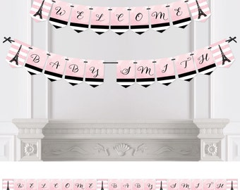 Paris - Bunting Banner - Personalized Baby Shower or Birthday Party Decorations
