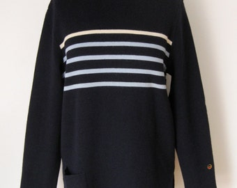 BUSNEL VINTAGE SWEATER / French sweater / Dark blue / Navy / Striped / Made in France / Wool sweater / 60s / 70s / 80s