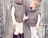 Handmade Custom Made Knit Azel Pullover, Cowl Neck, Sweater Vest, size adult medium & large