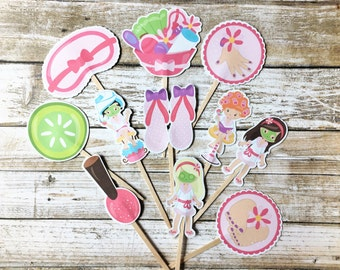 Spa Cupcake Toppers/Spa Party/Toppers/Girl Party