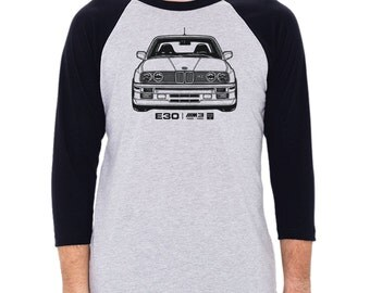BMW E30 M3 Graphic printed on Men's American Apparel 3/4 Sleeve Baseball Shirt