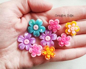 8 Resin Flower Flatback Cabochon Phone Decoration Mix