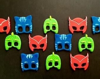 Edible Dozen of PJ Masks themed fondant cupcake toppers -12 piece set