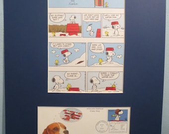 Peanuts with Charlie Brown featuring Snoopy and Woodstock & First Day Cover of the Snoopy Stamp