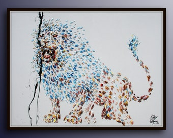 "Painting 40""  Lion original oil Painting  on canvas, , Modern Art , Express Shipping, By Koby Feldmos"